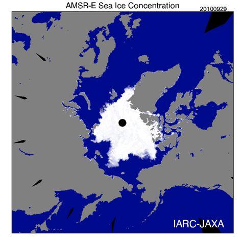 北極の溶けていく氷